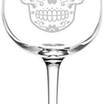 (Heart) Mexican Sugar Skull Day of The Dead Inspired - Laser Engraved 12.75oz Libbey All-Purpose Wine Taster Glass