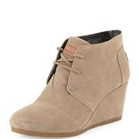 TOMS Suede Lace-Up Wedge Boot, Taupe