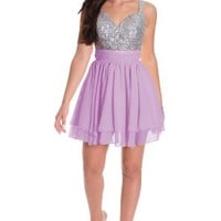 Girl's V-neck Sequin Peach Party Prom Short Homecoming Dress