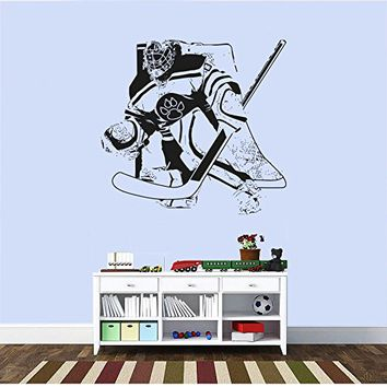 Hockey Wall Sticker, hockey sticker for Helmet,puck wall sticker,hockey decal for boys,kids sticker,cars sticker,laptop sticker kau 219