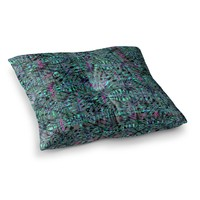 "Miranda Mol ""Tropical Camo Teal"" Teal Blue Pattern Abstract Digital Mixed Media Square Floor Pillow"