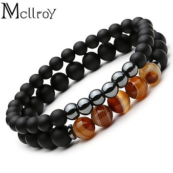 Mcllroy 2pc Natural stone Bracelet Beaded Black Mantra Prayer Beads Buddha Bracelet for Women and Mens men jewelry viking bijoux