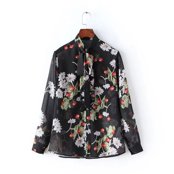 Black Floral Print Long Sleeve Bow Collar Single-Breasted Mesh Blouse