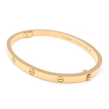 One-nice? Authentic Cartier Love Bracelet SM Bangle Size#15 K18YG 750 Yellow Gold Used