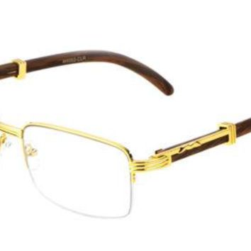 Mens Women Retro Vintage Clear Lens Gold Wood Frame Fashion Eye Glasses Designer