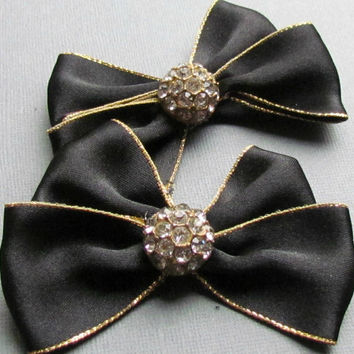 Vintage Black Satin Shoe Clips with Rhinestones