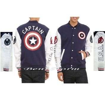 Licensed cool Marvel Captain America Varsity Jacket Avengers USA Shield Logo Adult Men's M-2X