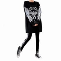 """Boy London"" Fashion Personality Numeral Eagle Letter Print Middle Sleeve Leggings Set Two-Piece Sportswear"