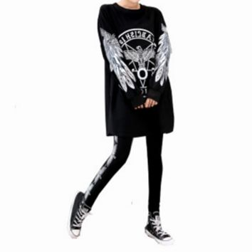 """""""Boy London"""" Fashion Personality Numeral Eagle Letter Print Middle Sleeve Leggings Set Two-Piece Sportswear"""
