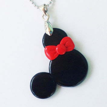 Minnie Mouse polymer clay pendant