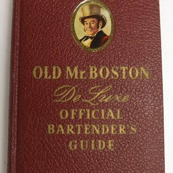 1940 Bartender's Guide Old Mr Boston, Vintage Mixed Drink Recipes, 4th Printing Red Hardcover Illustrated Book