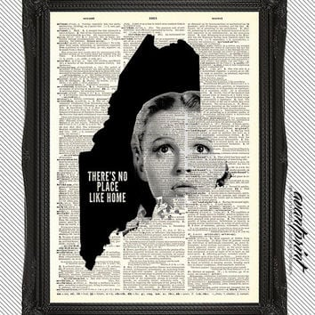 Theres No Place Like Home Maine AvantPrint Original Print on Unframed Upcycled Bookpage