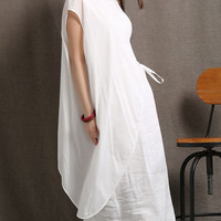 White cotton linen dress loose women dress (C408)