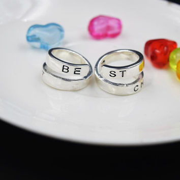 Couple Ring For Best Friends Forever Gift Best Bitches Rings Split word Two Rings J4U66