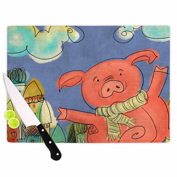 "Carina Povarchik ""Happy Urban Pig"" Pink Blue Cutting Board"