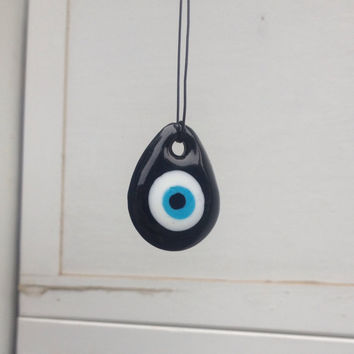 Blue Glass Eye Pendant Necklace - goth jewelry, steampunk necklace, back to school accessories -sooo tumblr grunge (;