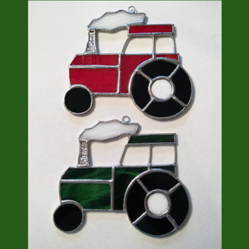 Handmade Stained Glass Tractor Suncatcher