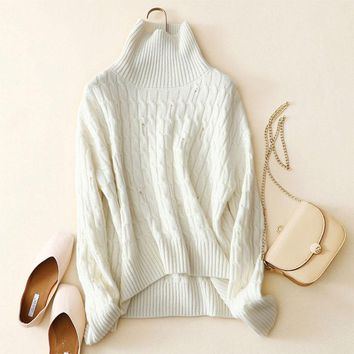 Kashana 100% Cashmere Cable Knit Turtleneck Sweater