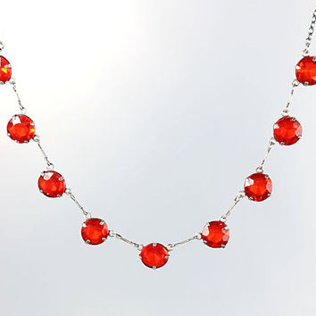 Sterling silver Art Deco Necklace, Open back Red crystal Necklace, 16 inch Short Delicate