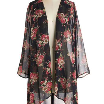 ModCloth 70s Long Floral Fascination Jacket