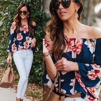 Women Sexy Off Shoulder Casual Floral Loose Long Sleeve T-Shirt Tops Blouse