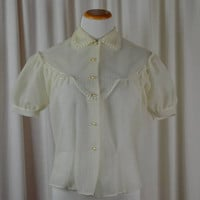 Vintage 1940s Blouse, Sheer Blouse, Off White Blouse, Fancy Blouse, Pin Up Blouse, Rockabilly Blouse, Sheer Blouse, 40's Blouse, Size Medium