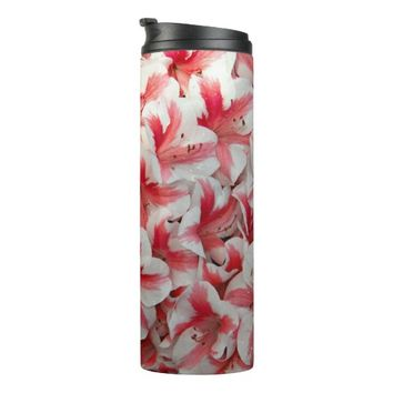 Red and White Azaleas Floral Thermal Tumbler