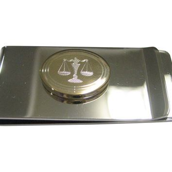 Gold Toned Etched Oval Scale of Justice Law Money Clip