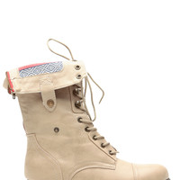 Beige Faux Leather Tribal Print Fold Over Combat Boots