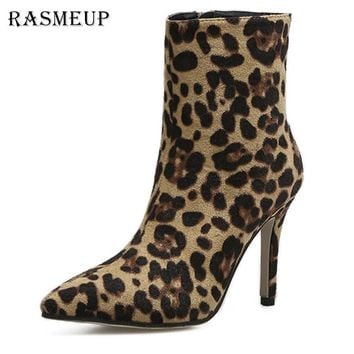 RASMEUP Sexy Women's Leopard Print Ankle Boots New Spring Fashion Women Flock Thin High Heels Boots Point Toe Zipper Woman Shoes
