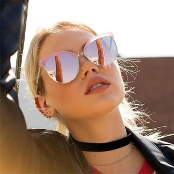 rose gold sunglasses ladies shades luxury brand quay cat sunglasses mirror pink sun glasses women female eyewear lunette femme