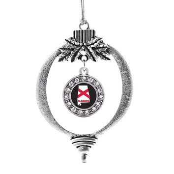 Alabama State Flag Circle Charm Holiday Ornament