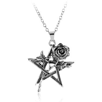Retro Pentacle Pentagram Rose Pendant Necklace Goth Punk Types Ancient Silver Color Jewelry for Women Christmas Gifts