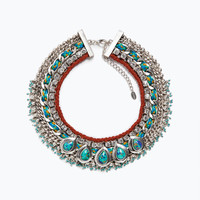 Turquoise diamante necklace