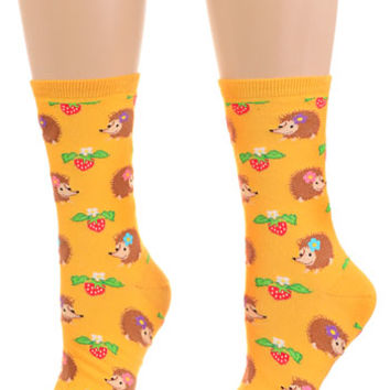 Happy Hedgehogs Socks in Sunshine Yellow - PLASTICLAND