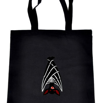 Hanging Vampire Bat on Black Tote Book Bag Halloween Handbag