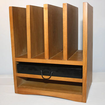 Vintage Wood Desk Organizer with Drawer, Mail Letter Holder, Home Office Decor
