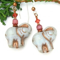 Gray Pink Elephant Earrings, Czech Glass Crystal Handmade Jewelry Gift