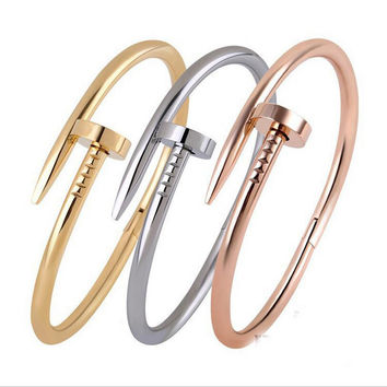 Screws Nail Cuff Bangles Copper Love Bracelets for Women Silver Rose Gold Black Jewelry Stainless Screws Fashion 4 Color 2017