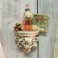 Aged architectural French wall shelf beach cottage shabby chic distressed White shelf