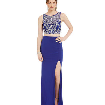 B. Darlin Beaded Illusion Top Long Two-Piece Dress | Dillards