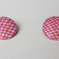 Large African Fabric Post Earrings