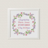 birth announcement Cross Stitch pattern, custom name and date, floral border, baby gift, ring bearer, birthday gift, new baby girl sampler