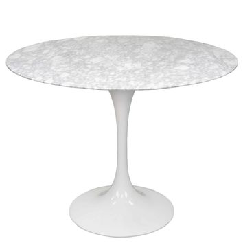 "Allie 39"" Round Table, White Marble"