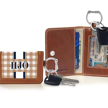 The Kent Keyring Wallet - Spring Monogram Stripe - Spring/Summer Monogram Stripe - Barrington Gifts