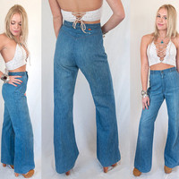70s High Waisted Levis Orange Tab Bell Bottom Jeans XS S 26 Waist | Womens Vintage High Waist Flares Wide Leg Disco Boho mom jeans 1970s 60s