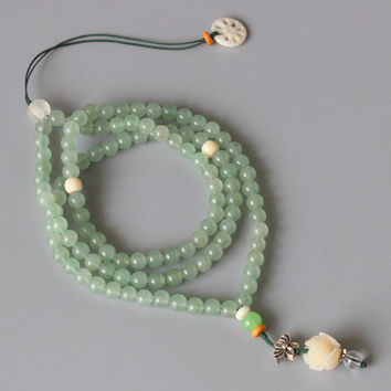 108 Mala Green Jade Beads Necklace - Handcrafted Lotus Flower Pendant Zen Buddhism Jewelry