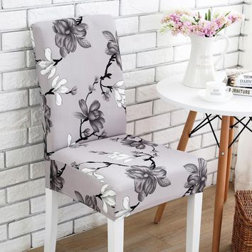 Grey flower printing Chair Cover Washable Removable big elastic seat Covers Slipcovers Stretch for banquet hotel arm wedding