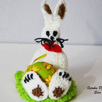 Crochet Easter rabbit decoration, Easter basket, spring bunny , easter banny , cozy rabbit egg warmers, egg cover ,crochet egg covers