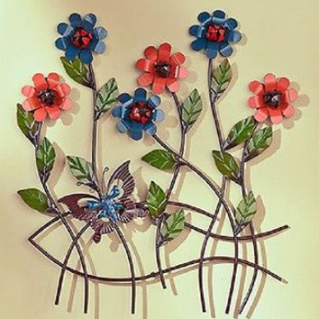 Wall Sculpture Butterfly Metal Nature Large Floral Blue Decor Accent Home NEW